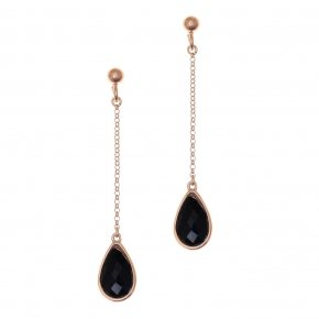Earrings silver 925 pink gold plated and black crystals - LITHOS