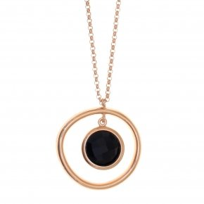 Necklace silver 925,40 cm, pink gold plated and black crystals - Nostalgia