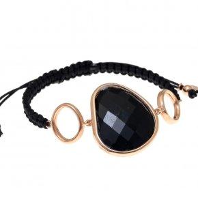 Bracelet silver 925 pink gold plated,black cord and black crystals - Nostalgia