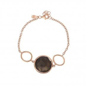 Bracelet silver 925 pink gold plated and smoke crystals - Nostalgia