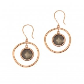 Earrings silver 925 pink gold plated and smoke crystals - Nostalgia