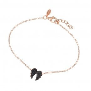 Bracelet in silver 925 pink gold plated with black spinel - Iris