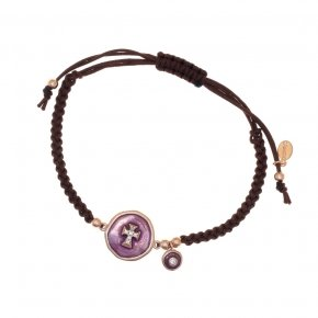 Bracelet silver 925 with cord (macrame) pink gold plated, white zirconia and enamel - Aroma