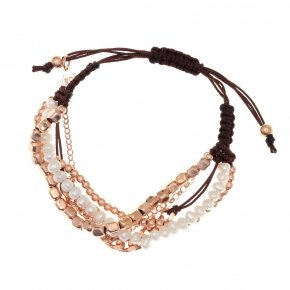 Bracelet silver 925, pink gold plated, fresh water pearl and cord - Outopia
