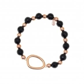 Bracelet out of metal pink gold plated and onyx - Armonia