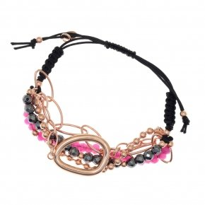 Bracelet out of metal pink gold plated, with hematite and fuchsia crystals - Armonia