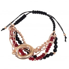 Bracelet out of metal pink gold plated, with onyx and red crystals - Armonia