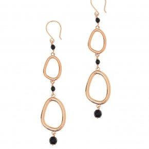 Earrings out of metal pink gold plated and onyx - Armonia