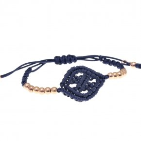 Bracelet silver 925 pink gold plated with cord (macrame) - Ariadne