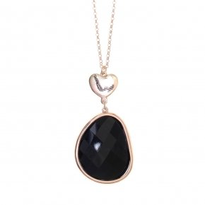 Necklace out of metal, long 80 cm, pink gold plated and black crystal - Nectar