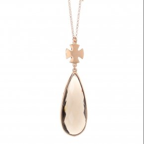 Necklace out of metal, long 80 cm, pink gold plated and smoke  crystal - Nectar