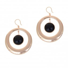 Earrings out of metal pink gold plated and black crystal - Armonia