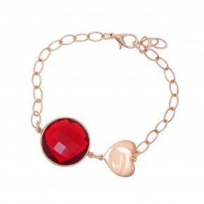 Bracelet out of metal pink gold plated with red crystal - Nectar