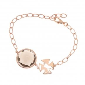 Bracelet out of metal pink gold plated with smoke crystal - Nectar