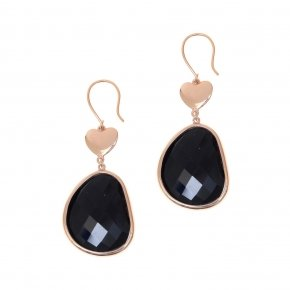 Earrings  out of metal pink gold plated and black crystal - Nectar