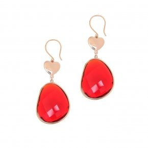 Earrings  out of metal pink gold plated and red crystal - Nectar