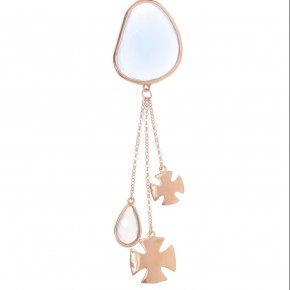 Necklace out of metal, long 90 cm, pink gold plated and lila  crystals - Nectar