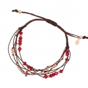 Bracelet silver 925 pink gold plated two color cord and red stones - Aegis