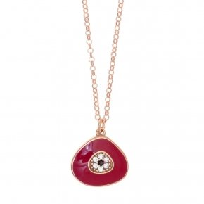 Necklace silver 925 lenght 40 cm (with extra 5cm exte), pink gold plated , red enamel and white zirconia - Irida