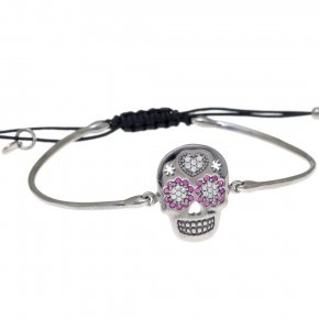 Bracelet silver 925 with black rhodium, black cord macrame and colored zirconia - Enigma