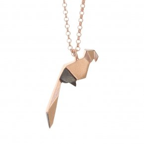Necklace silver 925, long 70cm, pink gold plated - Origami