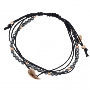 Bracelet silver 925 pink gold plated, cord and hematite - Aegis