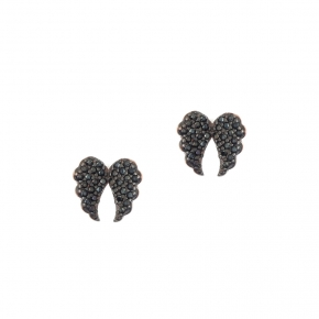 Earring silver 925 pink gold plated and black spinels - Iris