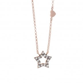 Necklace silver 925 lenght 40 cm (with extra 5cm exte), pink gold plated and grey zirconia - Astarte