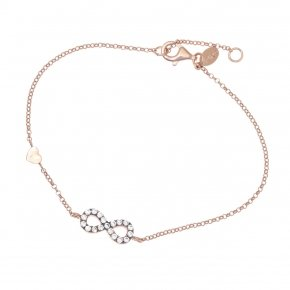 Bracelet silver 925 lenght 16,5 cm (with extra 2cm exte), pink gold plated and grey zirconia - Astarte