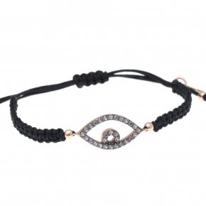 Bracelet silver 925 black cord (macrame), pink gold plated and grey zirconia - Astarte