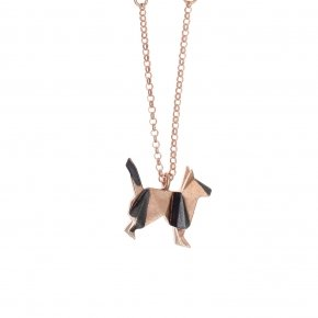 Necklace silver 925,40 cm (with 5cm exte), pink gold plated - Origami