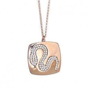 Necklace silver 925 long lenght 80 cm pink gold plated and colored zirconia - Eva