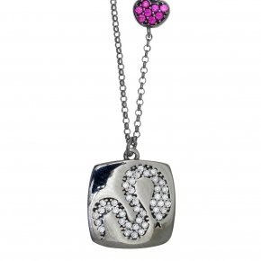 Necklace silver 925 lenght 40 cm (with extra 5cm exte) with black rhodium and colored zirconia - Eva