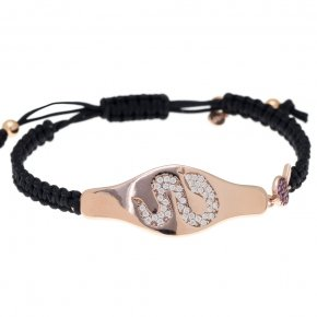 Bracelet silver 925 with black cord macrame, pink gold plated and colored zirconia - Eva