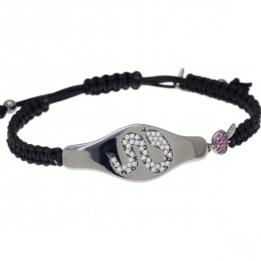 Bracelet silver 925 with black cord macrame, with black rhodium and colored zirconia - Eva
