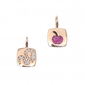Earring silver 925 pink gold plated and colored zirconia - Eva