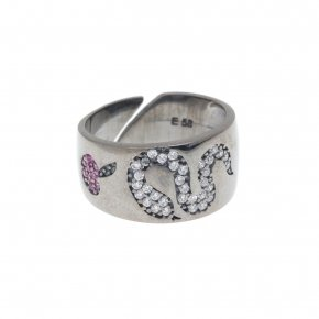 Ring silver 925with black rhodium and colored zirconia - Eva