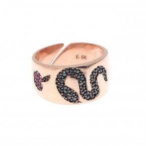 Ring silver 925 pink gold plated and colored zirconia - Eva