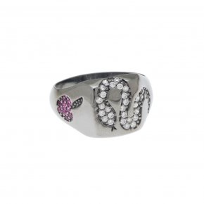 Ring silver 925 with black rhodium and colored zirconia - Eva