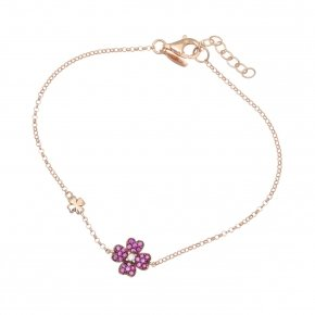 Bracelet silver 925, pink gold plated and red zirconia - Manolia
