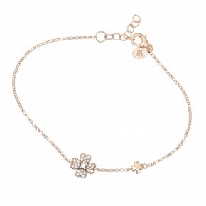 Bracelet silver 925, pink gold plated and white zirconia - Manolia