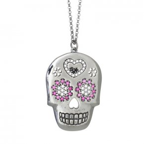Necklace silver 925 lenght 80 cm with black rhodium and colored zirconia - Enigma