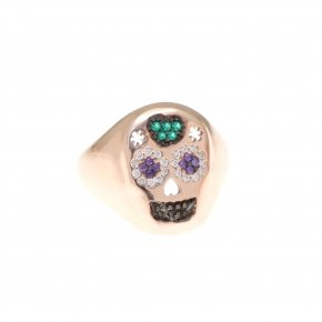 Ring silver 925 pink gold plated and colored zirconia - Enigma