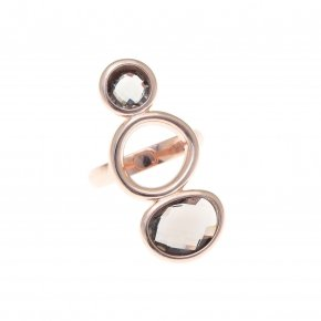 Ring silver 925 pink gold plated and smoke crystals - Nostalgia