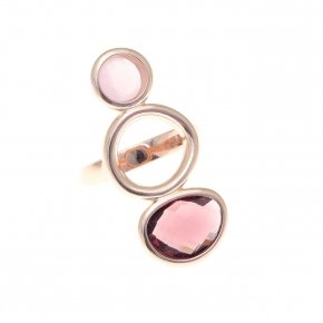Ring silver 925 pink gold plated and purple-pink crystals - Nostalgia