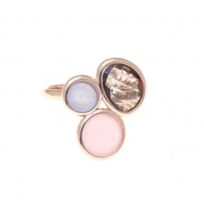 Ring silver 925 pink gold plated and smoke,pink and lila crystals - Nostalgia