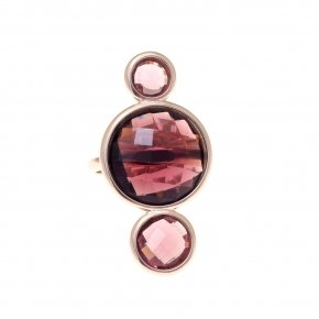 Ring silver 925 pink gold plated and purple crystals - Nostalgia