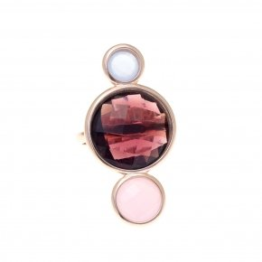 Ring silver 925 pink gold plated and purple,pink and lila crystals - Nostalgia