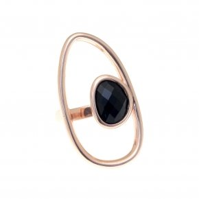 Ring silver 925 pink gold plated and black crystals - Nostalgia