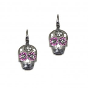 Earring silver 925 with black rhodium and colored zirconia - Enigma